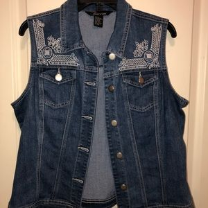 Denim Vest with Shoulder Detail NWOT